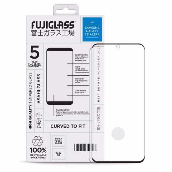Picture of Fuji Fuji Curved-to-fit Screen Protector for Samsung Galaxy S21 Ultra in Clear/Black